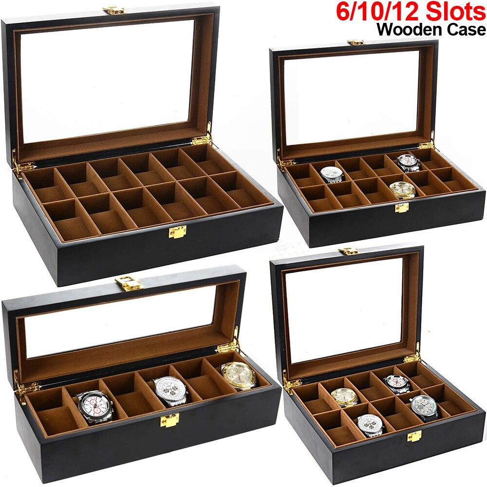 Caja de reloj con 6/10/12 ranuras, organizador de madera para reloj, pantalla superior de cristal, soporte marrón para reloj interno, caja de almacenamiento de relojes, caja de regalo para hombres