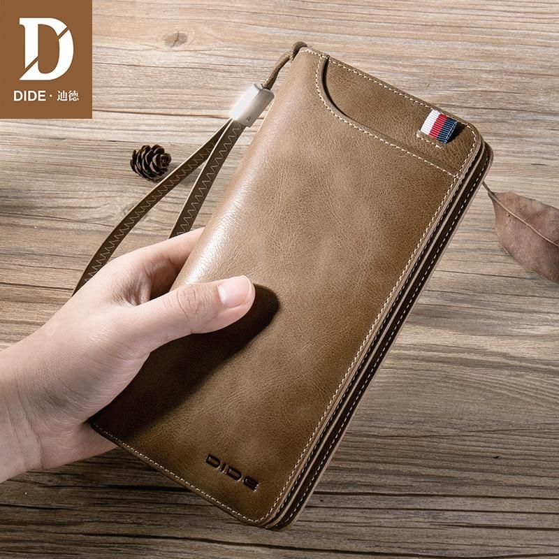 Bolso de mano largo DIDE de piel auténtica para hombre, bolsa con cierre, tarjetero, billetera para hombre, bolsos con cremallera, carteras largas, antirrobo para hombre