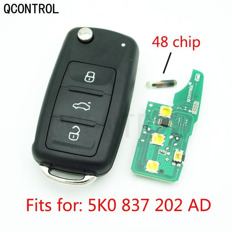 Qcontrol 3 btcar chave remota 433 mhz para vw/volkswagen beetle/caddy/eos/golfe/jetta/polo/scirocco/tiguan/touran/up 5k0 837 202 ad
