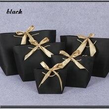10 pçs pacote favor arco fita presente saco reciclável diy sacos de papel para roupas festa de aniversário de casamento com alças celebração decoração