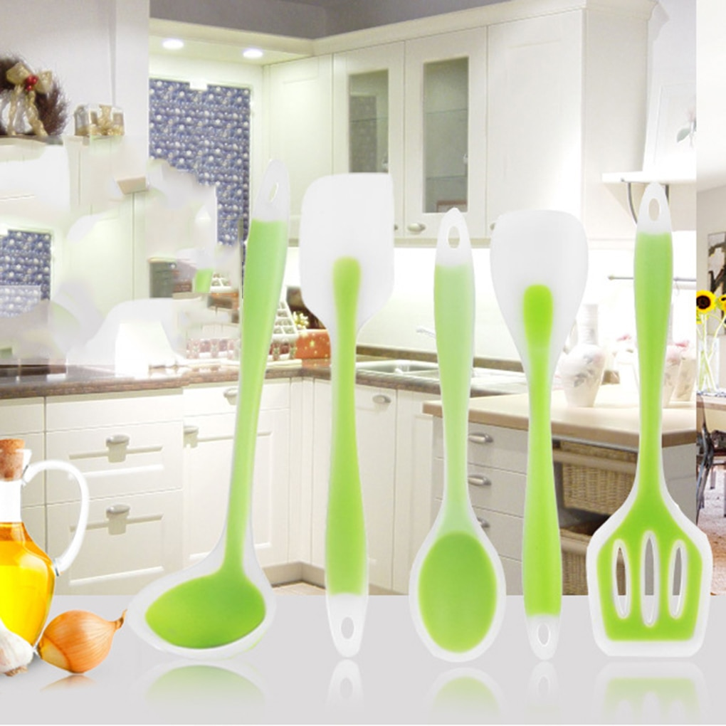 5pcs/Set food grade silicone Cooking tools accessories Heat-Resistant kitchen Utensil Set Non-Stick spatula turner ladle spoon