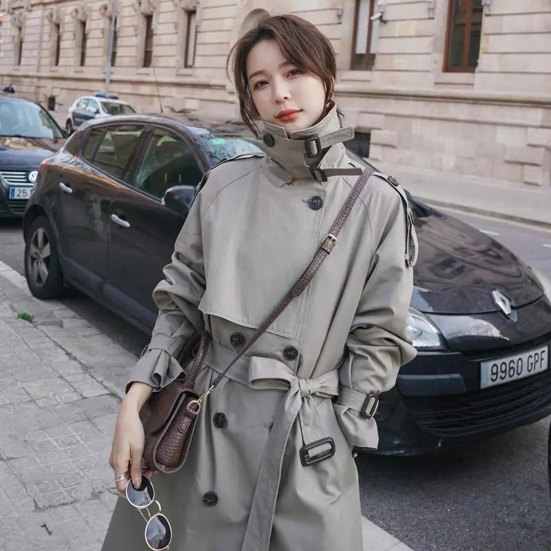 عالية الجودة مزدوجة الصدر الإناث خندق معطف شيك Epaulet تصميم معاطف طويلة لطيفة الخريف سترة واقية المرأة معطف