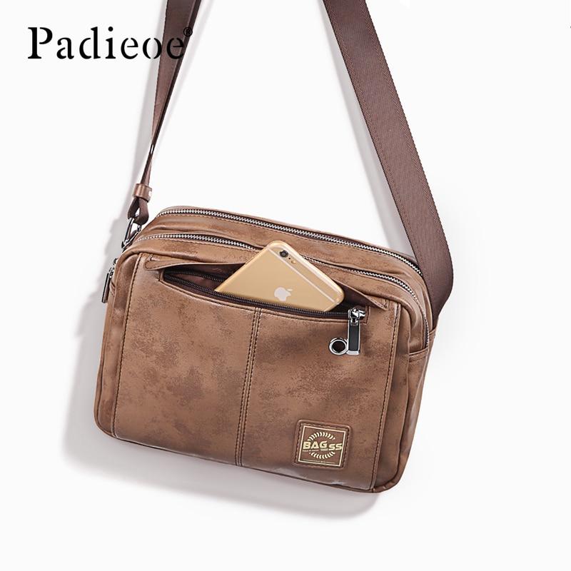 Padiloe حقائب كروسبودي للرجال حقائب كتف جلدية حقيبة حقيبة حقيبة رافعة المحافظ موضة خمر