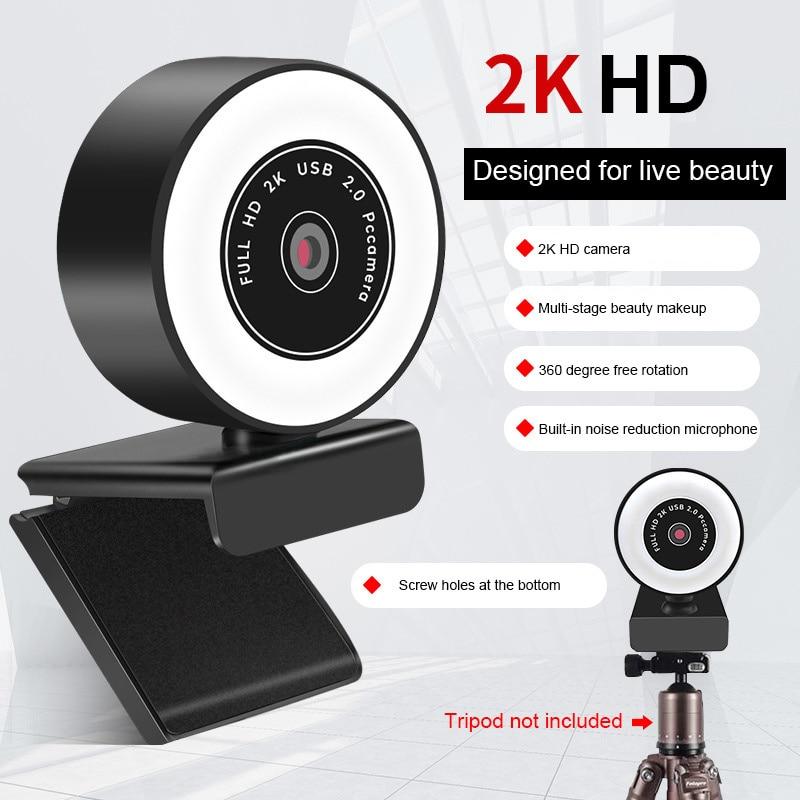 Webcam 2K Full Hd 1080P Web Camera Autofocus Met Microfoon Usb Webcam For Pc Computer Mac Laptop desktop  Webcamera