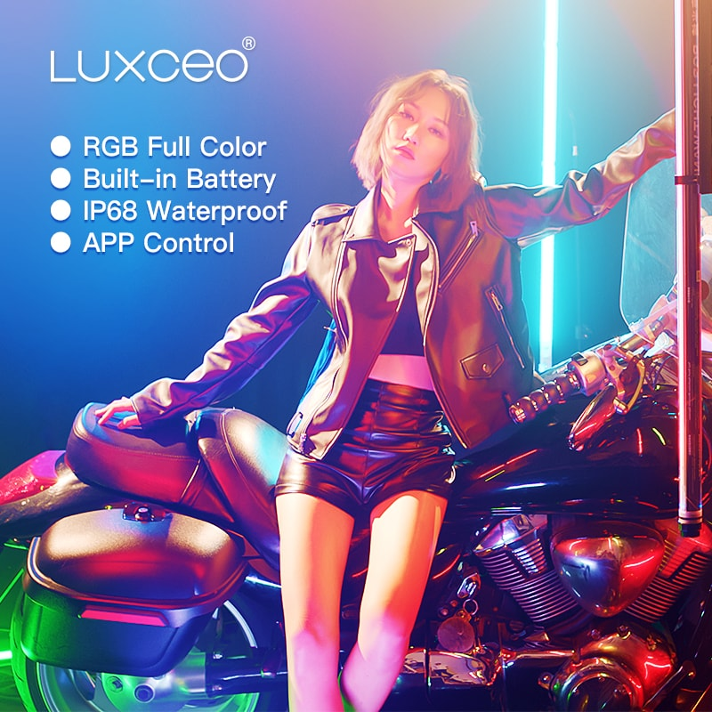 LUXCEO P120 led light wand rgb led tube light battery photography light ,RGB Colors,Waterproof IP68,12 Modes,APP Control,1000LUX enlarge