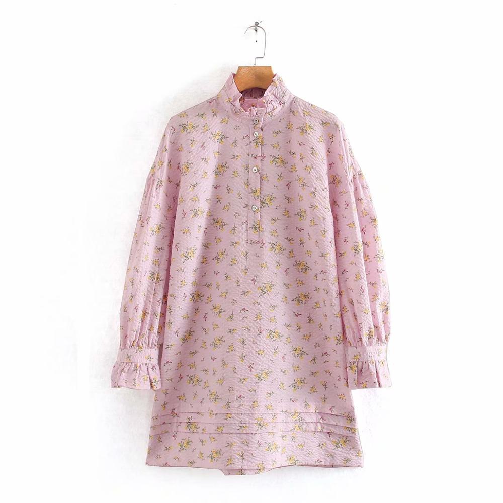 Dulce mujer encaje agárico Collar estampado Floral de rosa de pelo para mujer con manga fruncida de prensa Vestidos de boda Vestidos