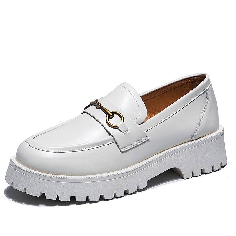 2021 الربيع الأحذية مشبك معدني الخريف الرجعية النساء حقيقية الجلود الفتيات اليومية حذاء بدون كعب أحذية سميكة أسفل القدم رئيس مستديرة