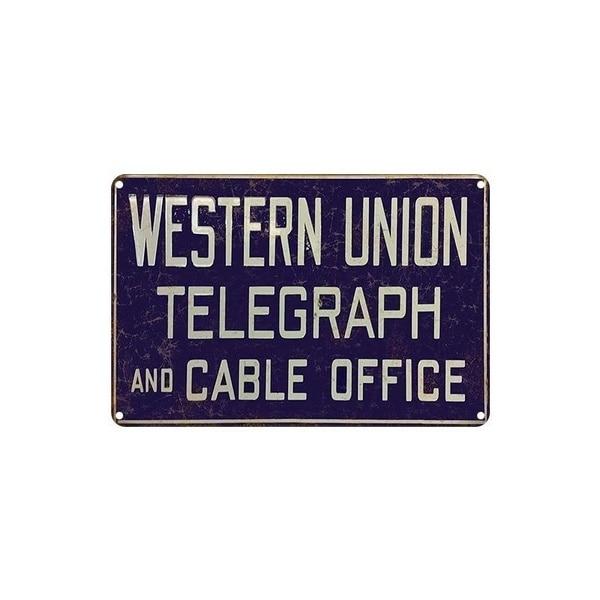 Señal de estaño de Metal Vintage Western Union, telémetro y Cable para...