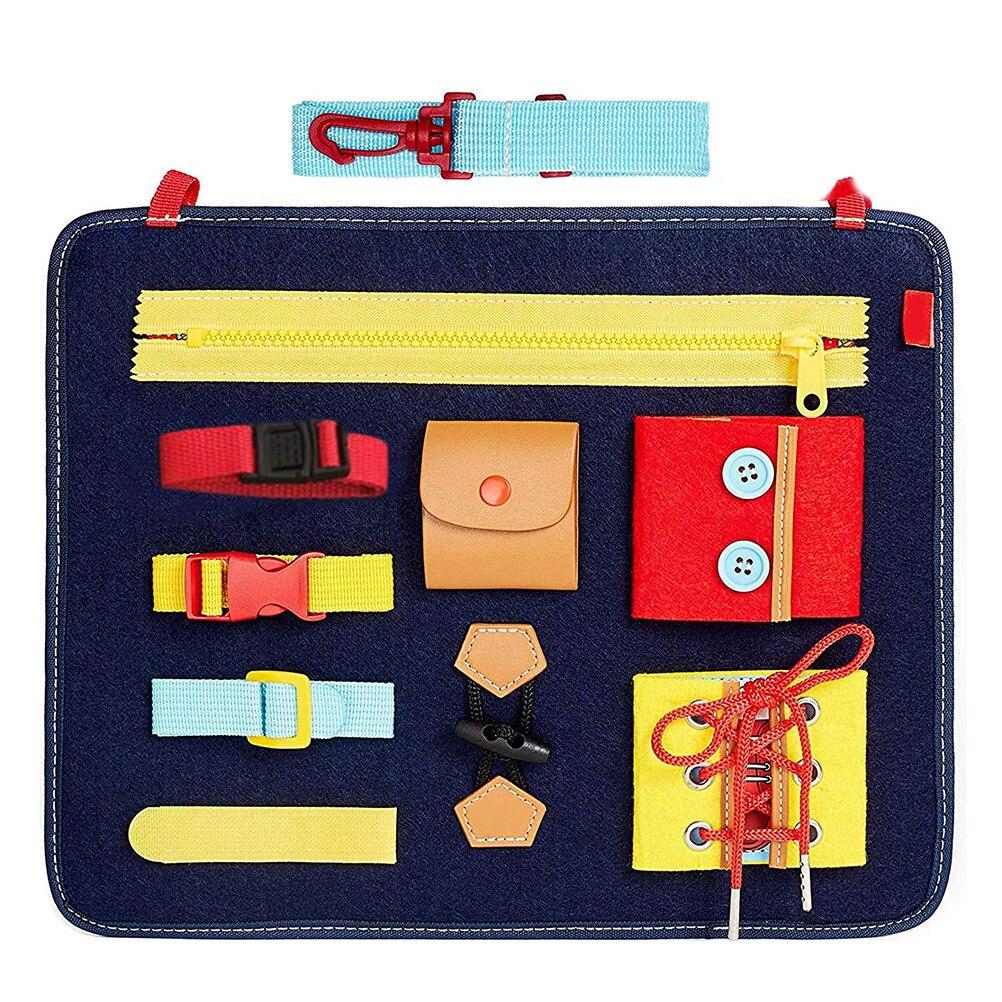 Tablero de bebé ocupado Montessori, habilidad básica, tabla de actividades para aprender a vestir juguetes educativos de aprendizaje