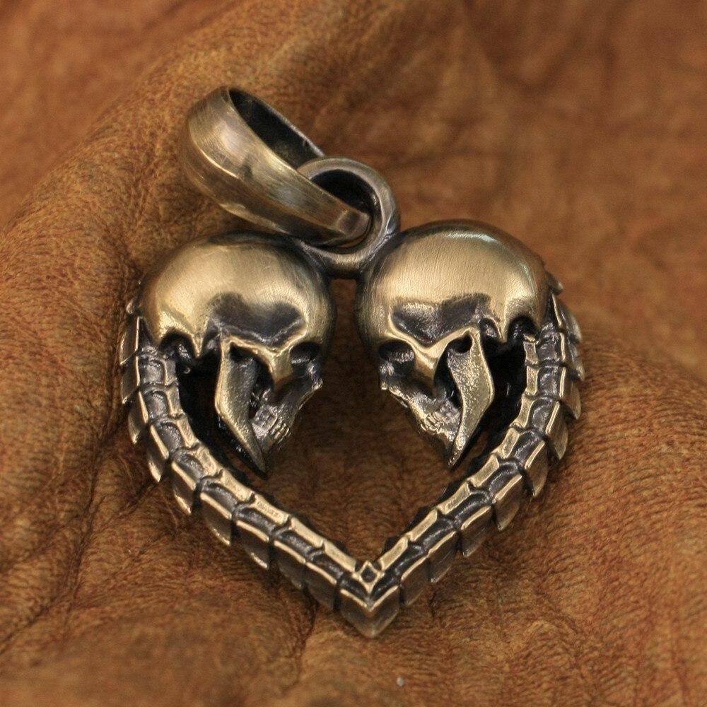 قلادة برقبة على شكل قلب من النحاس الأصفر مزدوجة التفاصيل من LINSION للرجال طراز BR168 JP