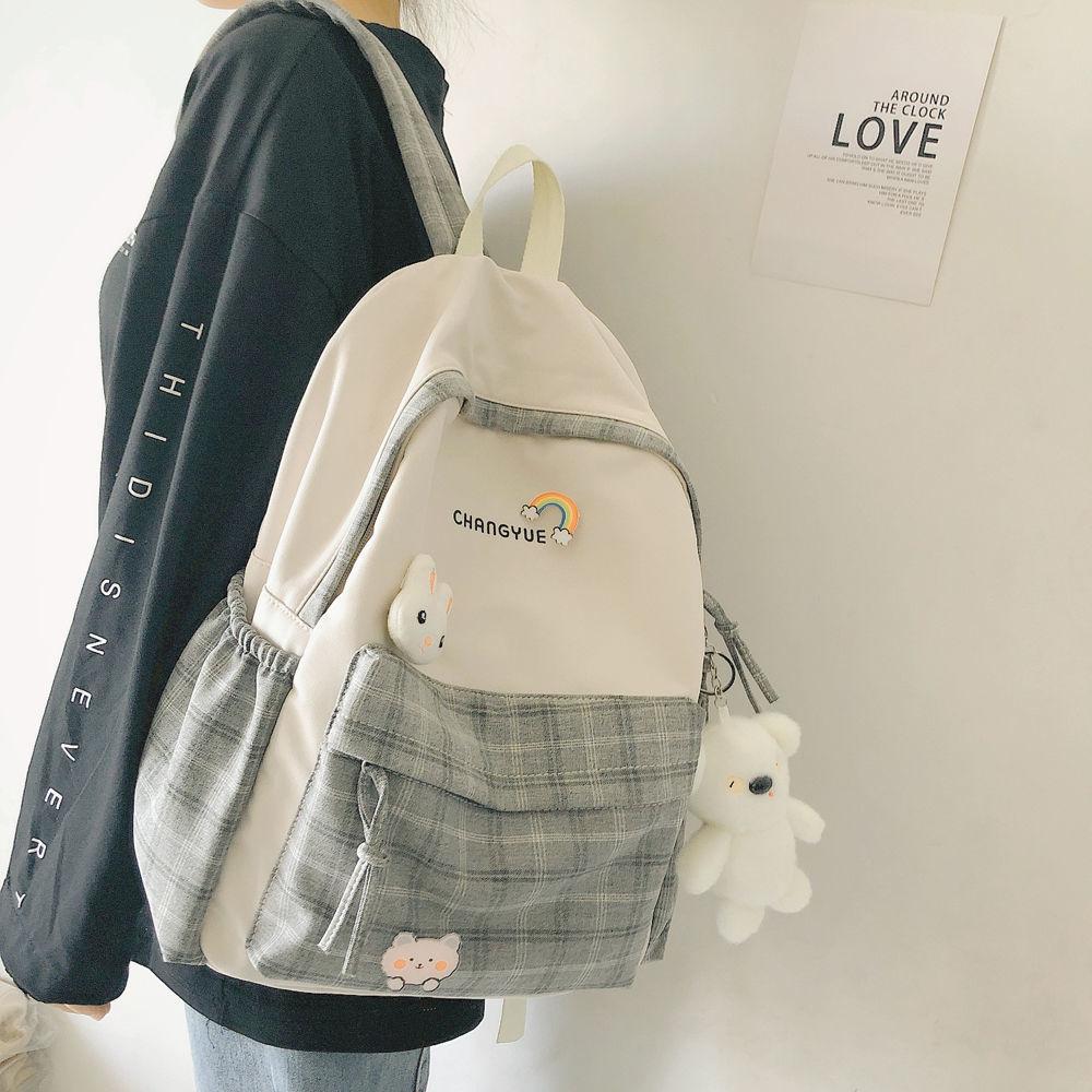 Маленькая свежая сумка ins для старшей школы, Женский студенческий Корейский простой рюкзак в клетку для младшей и старшей школы в студенчес...