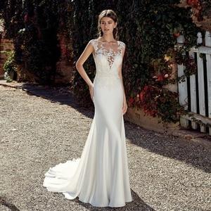 Vintage Lace Beach Wedding Dress Custom Plus Size Scoop Neck Cap Sleeve Applique Sweep Train Mermaid Bridal Gowns