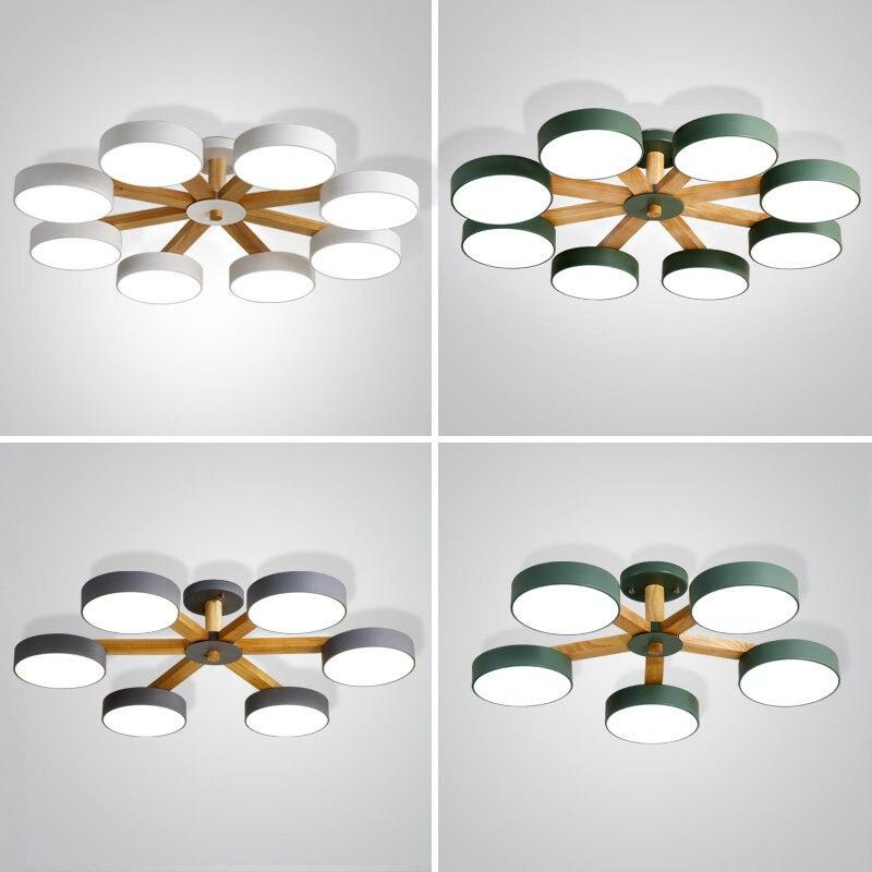 Lámparas de techo nórdicas modernas de color de macarrón, lámpara de techo de diseño simple, accesorio de 8 brazos para sala de estar, dormitorio, lámpara de pasillo redonda