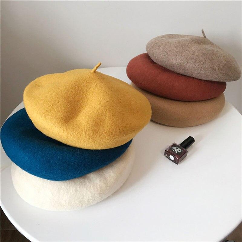 Women Girl Beret Winter Warm Wool Beanie Hat Cap Vintage Painter Beret Hats Solid Color Elegant Lady
