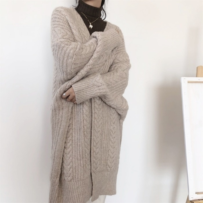 Knitted Cardigan Retro Fashion Minimalism 2021 Autumn and Winter Thick Loose Twist Long Women's Sweater Coat