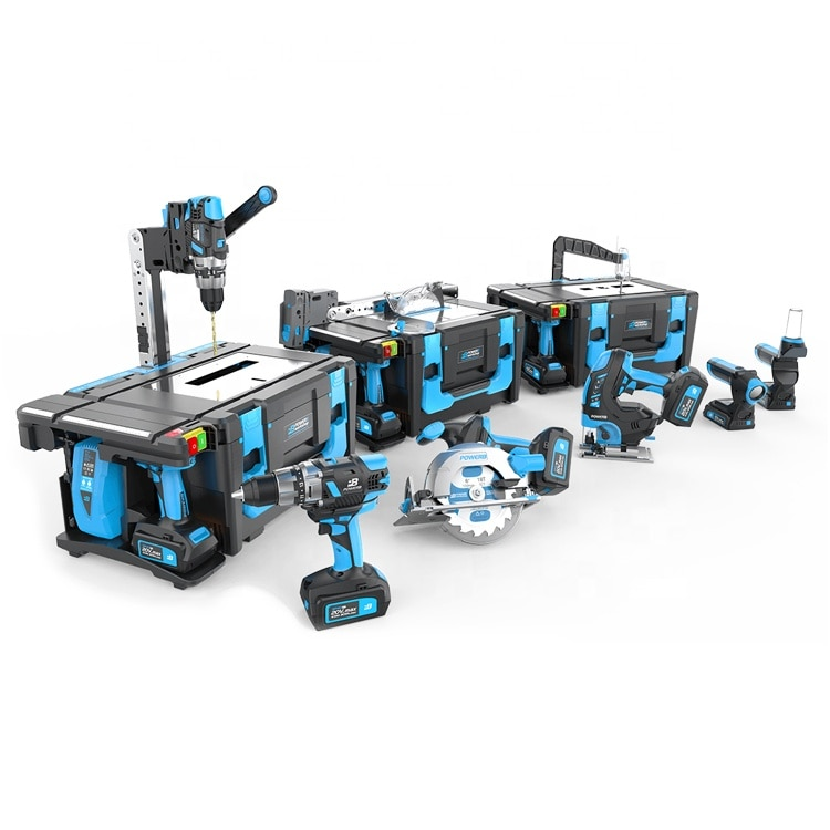 Power8 Create 20V Workshop Plus All-In-One Multi-function Cordless Combo Set Power Tool Kit, Armored Case & Accessories