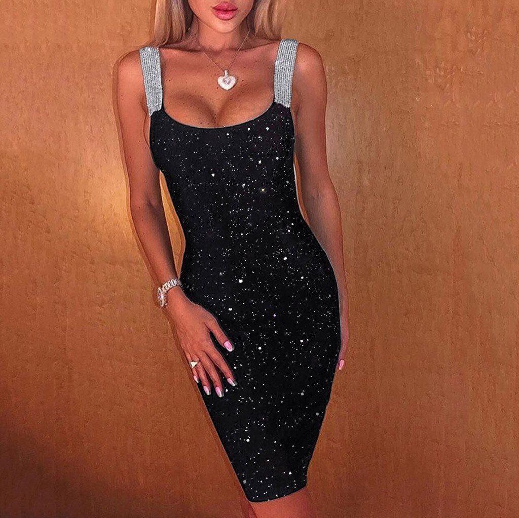 Black Sequin Bling Dress Women Sexy Slip Bodycon Midi Dress Backless Robe Clothes For Cocktail Party Club Wear