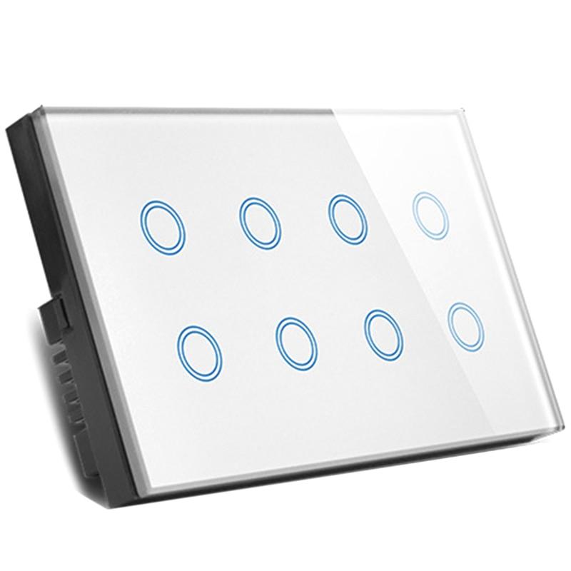 uk plug wifi inteligente imprensa interruptor de parede luz tomada painel vidro 8