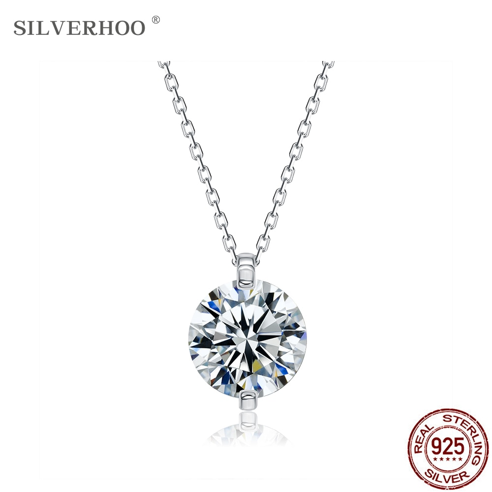 SILVERHOO 925 Sterling Silver Invisible Chain Necklaces For Women Round Clear Cubic Zirconia Pendants Necklace Fine Jewelry Gift