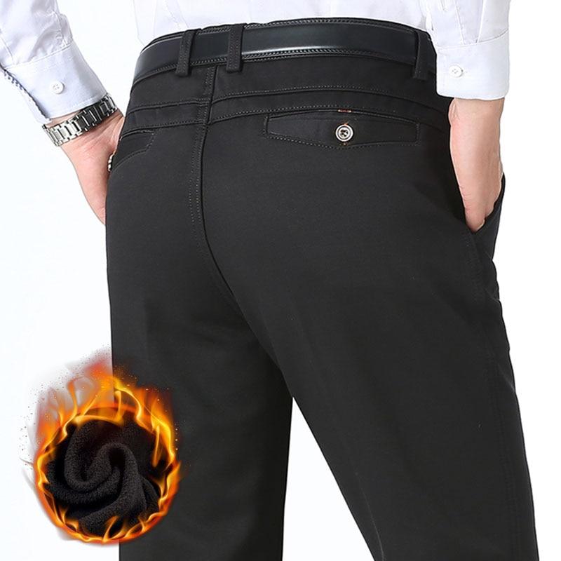 Осень зима мужские теплые флисовые классические черные хлопковые брюки мужские деловые свободные длинные брюки качественные повседневные...