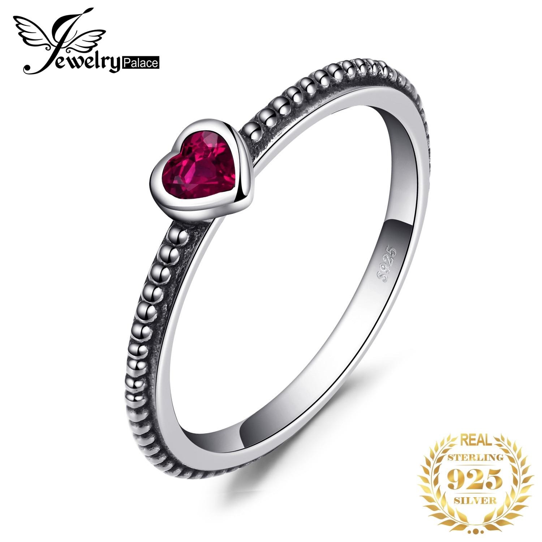 JPalace corazón rojo Murano vidrio anillo 925 anillos de plata esterlina para las mujeres apilable anillo banda plata 925 joyería fina