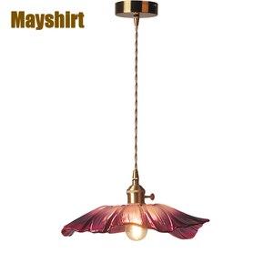 Japanese Brass Flower Glass Pendant Lights Living Room Bedroom Home Decor Hanging Lamp Nordic Modern Cafe Kitchen Light Fixture