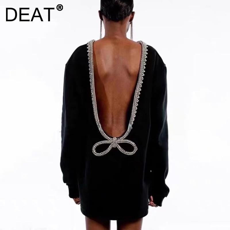 DEAT 2021 جديد الخريف والشتاء موضة عادية كم طويل سليم الماس حزام ضمادة القوس مفتوحة الظهر تي شيرت كامل النساء أعلى SG886