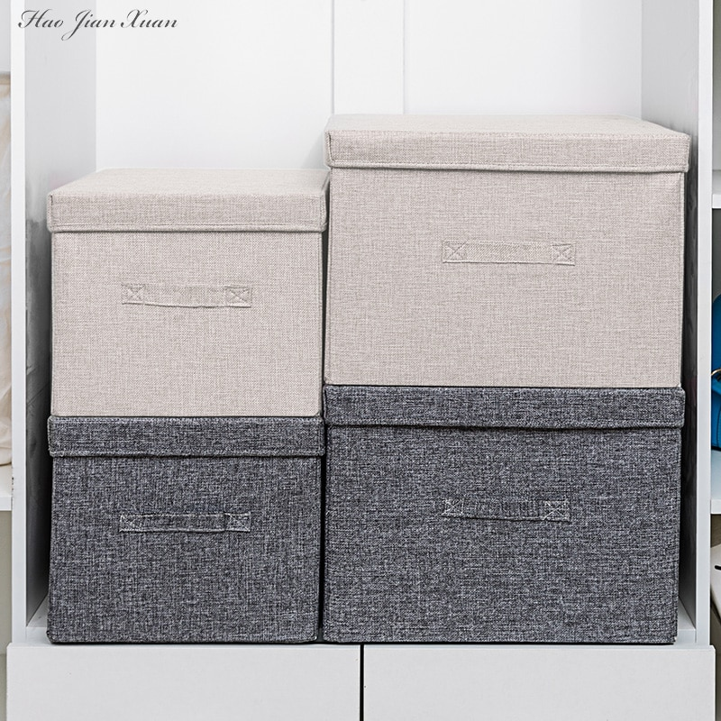 2021 New Washable Cotton Linen Fabric Folding CD Storage Box Foldable Bins Toys Organizer With Lid Storage Basket Laundry Basket
