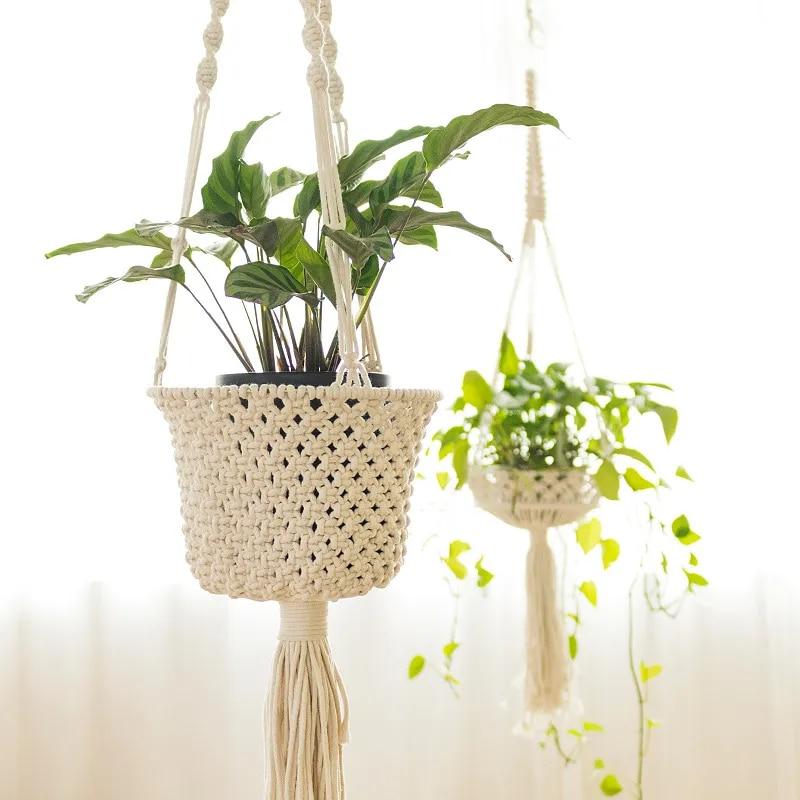 Porte-plante en macramé, panier mural en corde de coton, fait à la main, pour Pot de fleurs d'intérieur, décoration de balcon et de jardin