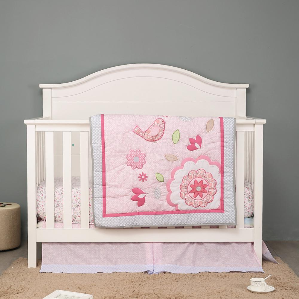 3 uds juego de ropa de cama para cuna de bebé camas de bebé Unisex niño o niña vivero, vivero decor chica juego de cama cuna (equipado hoja + cama cuna falda + edredón)