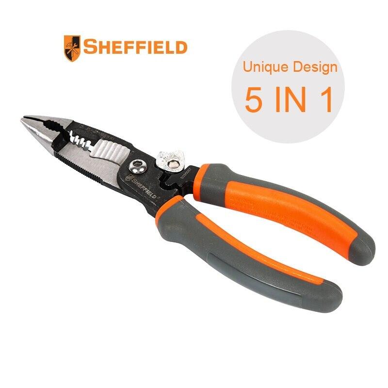 جديد شيفيلد 5 في 1 متعددة الوظائف الكهربائية كماشة 8 بوصة إبرة زردية طويلة الفكين مع تجريد قطع العقص