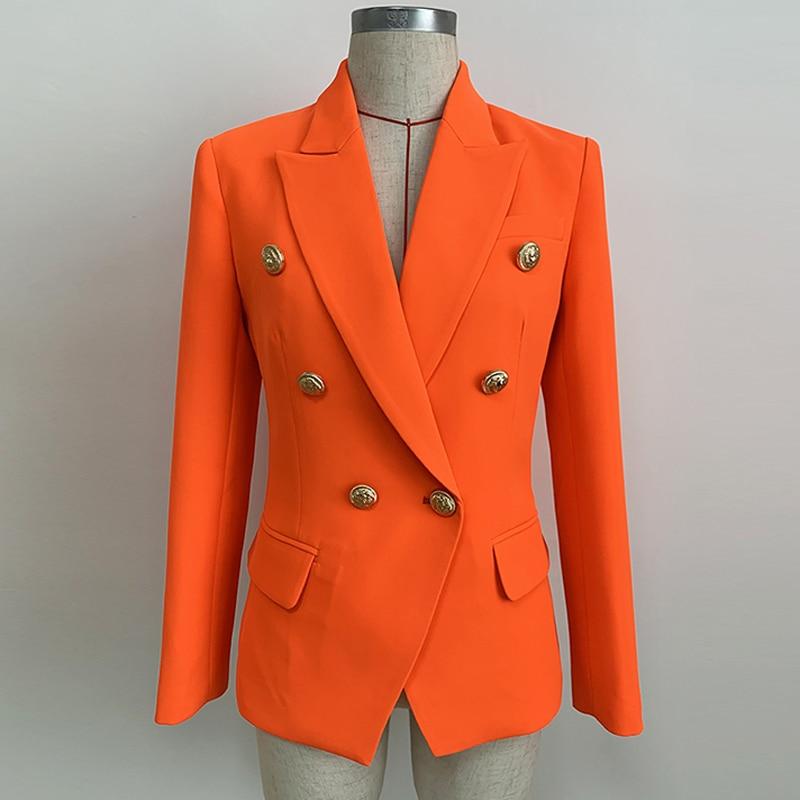 جاكيت بليزر نسائي برتقالي نيون ، مزدوج الصدر ، أزرار رأس الأسد ، مصمم ، جودة عالية ، مجموعة جديدة 2021
