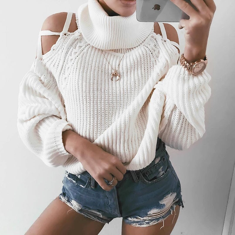 2021 European and American Sweaters Women's Clothing Popular Autumn and Winter Lacing Sweater