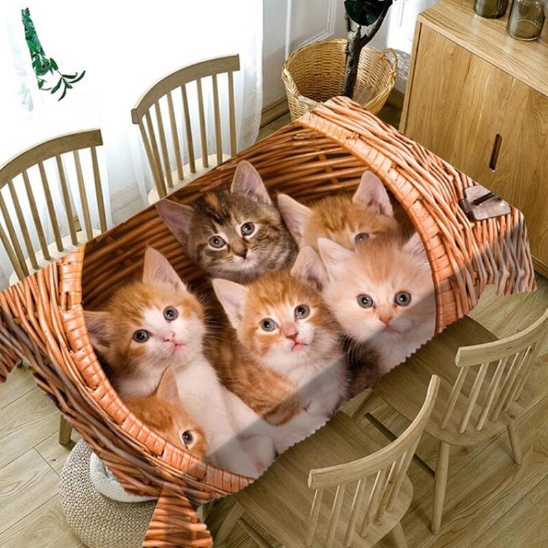 Mantel cuadrado 3d lavable con diseño de gato bonito en la cesta de bambú mantel grueso