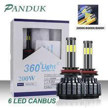 PANDUK 200W 26000LM автомобильный светильник 6 сторона H8 H3 H7 H9 9006/HB4 9005/HB3 H4 H11 H1 H13 светодиодный головной светильник лампочка супер яркий автомобильный...