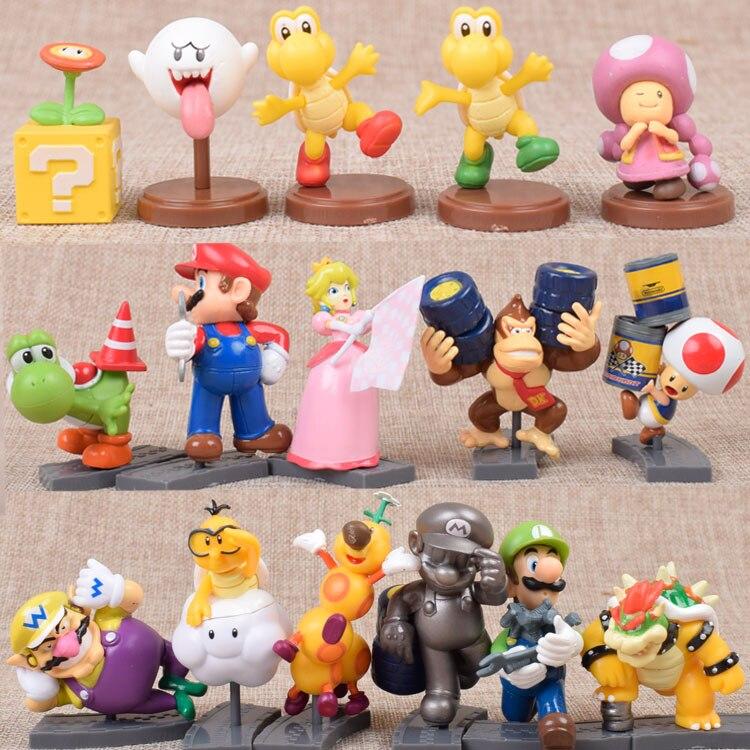 Супер Марио тапочки в виде Персонажа Аниме Братья Марио комплекты куклы Супер Марио и Луиджи Yoshi Дракон гриб обезьяна ПВХ экшен-фигурка моде...