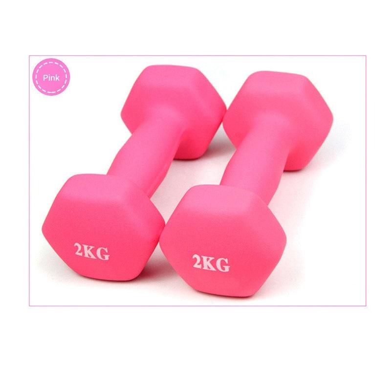 4 color2kg Matte dumbbells fitness portable girl woman children Home Exercise Dumbbells Rack Stands  a pair