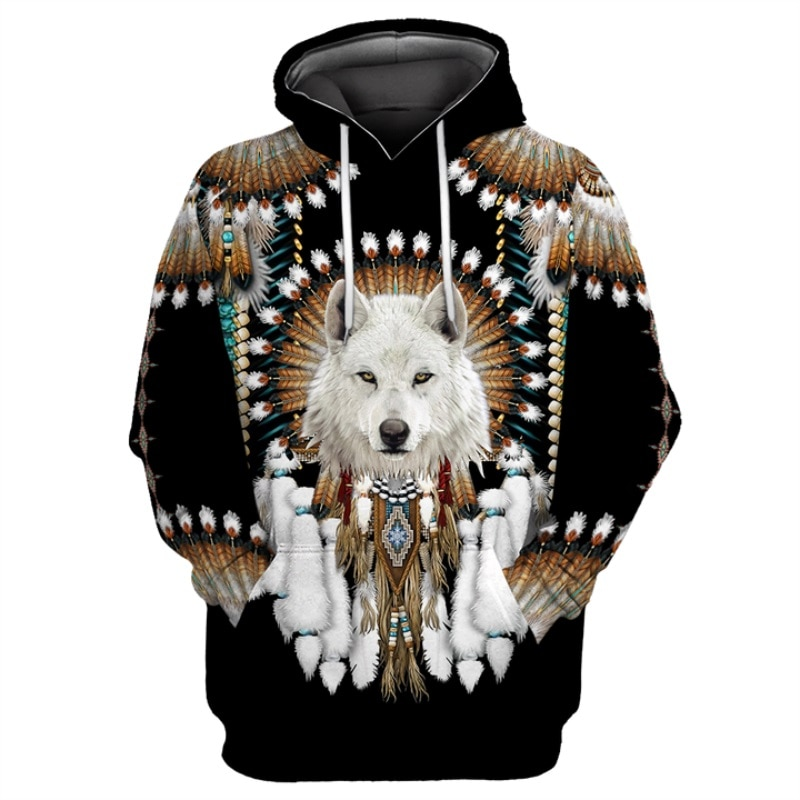 Native Indian Wolf 3D Printed Hoodies men Harajuku Fashion Hooded Sweatshirt Autumn Unisex Casual hoodie sudadera hombre YDA15 fashion marvel men hoodies the avengers i am groot 3d printed cute hoodie zip hoodies unisex casual streetwear sudadera hombre