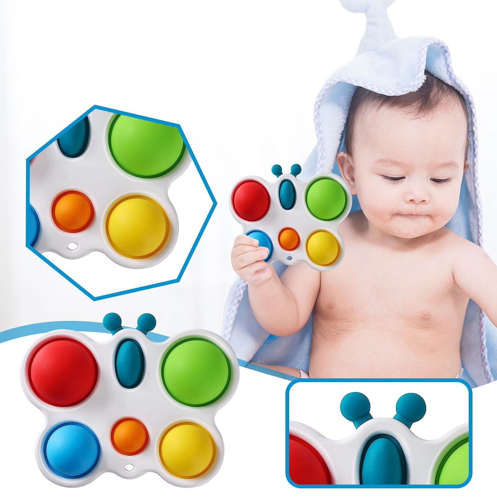 Fidget Toys Infant Early Education Intelligence Development Intensive Training Toy Butterfly Finger Bubble Music Sensory Toys W* enlarge