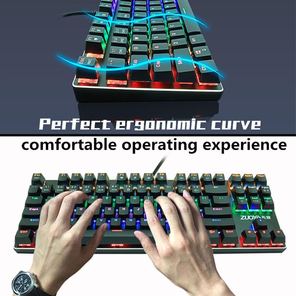 Gaming Mechanical Keyboard Blue Red Switch 87key RU/US Wired Keyboard Anti-ghosting RGB/ Mix Backlit LED USB For Gamer PC Laptop enlarge