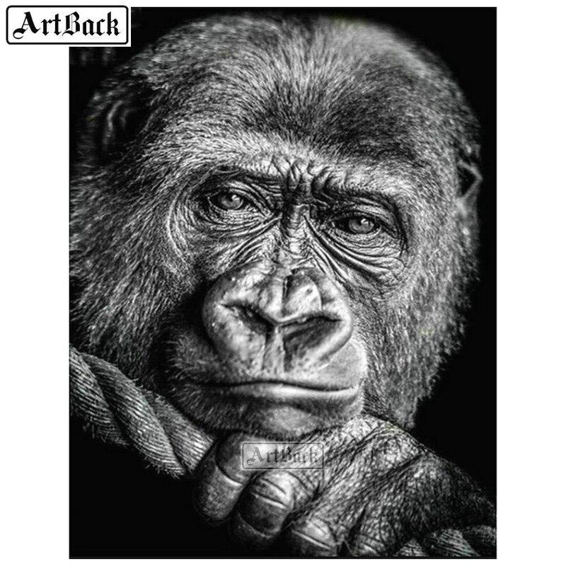 ARTBACK 5d diy diamante pintura de gorila cuadrado completo/redondo diamante bordado animal 3d diamante arte mosaico artesanías 80x105cm