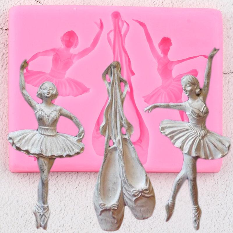 Zapatos de Ballet 3D moldes de silicona bailarina Cupcake Topper Fondant bebé cumpleaños torta decoración herramientas caramelo Chocolate goma moldes