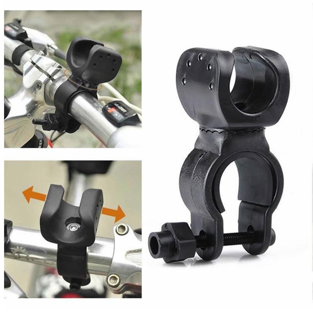 Gran calidad, soporte de linterna LED de bicicleta giratorio de 360 grados, abrazadera fija, Clip de montaje de abrazadera Universal, sujetador de antorcha de rotación U1D4