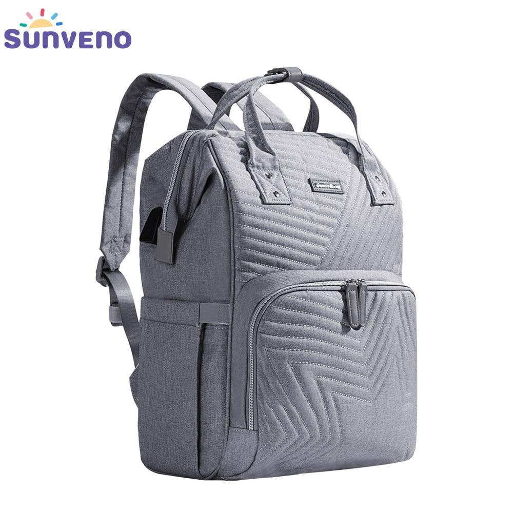 Mochila De moda Sunveno, mochila para pañales, mochila acolchada de maternidad grande para mamá, mochila de viaje para cochecito, bolsa de pañales para bebé