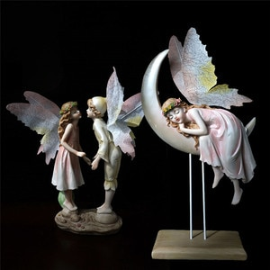 HHT Creative Fairy Home Decorations Desktop Ornaments Couples Moon White Horse Angel with Wings Sculpture Wedding Birthday Gifts