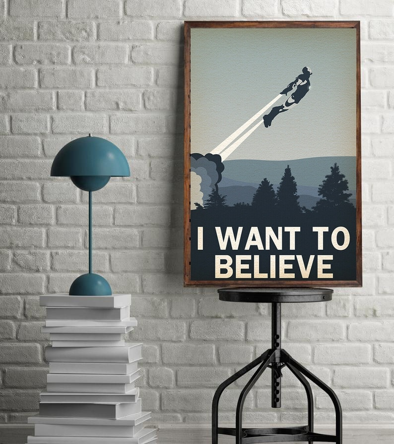 I WANT TO BELIEVE (Ironman)-Película minimalista póster lienzo artístico póster pintura cartel decoración de la pared