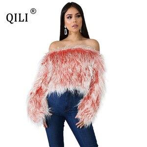 QILI женский свитер с открытыми плечами, длинный свитер с градиентом на плечах, женский короткий топ