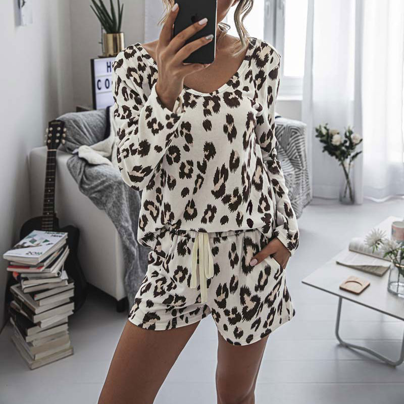2021 Leopard Pajama Set Women Loungewear Sleepwear Homewear Pjs Women Lounge Wear Set Ladies Home Su