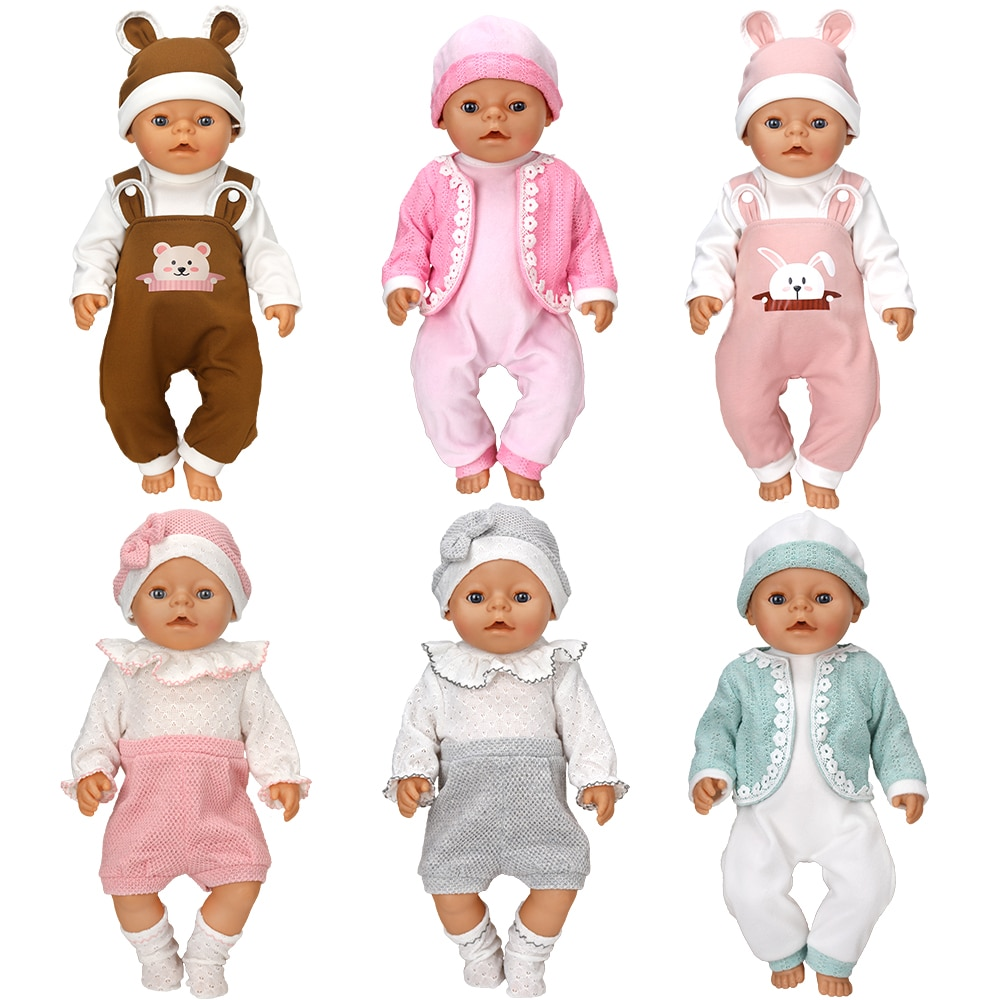 2021 Baby New Born Fit 18 inch 43cm Doll Clothes Accessories Brown Chest Hanging Shoulder One-Piece