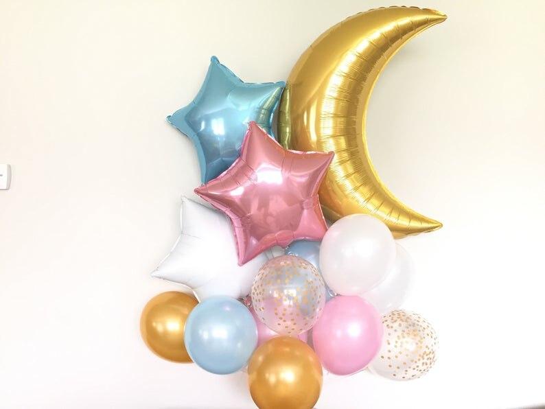 Cintilação da cintilação Pouca Estrela Foil Balões Little Star Baby Shower Decoração Lua e Estrela Balões Balões de Revelar Sexo Sexo